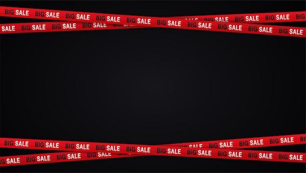 Bandiere di vendita del venerdì nero nastri di avvertimento nastri su sfondo nero