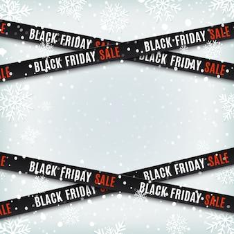 Banner di vendita venerdì nero. nastri di avvertenza, nastri su sfondo invernale con neve e fiocchi di neve. modello per brochure, poster o flyer. illustrazione.