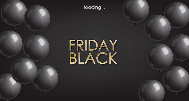 Vendita di black friday, bandiera nera, vendita eccellente, offerta speciale, modello di progettazione, illustrazione nera dei palloni