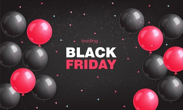 Vendita di black friday, bandiera nera, vendita eccellente, offerta speciale, modello di progettazione, illustrazione rosa e nera dei palloni