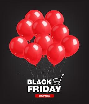 Vendita di black friday, insegna nera, vendita eccellente, offerta speciale, modello di progettazione, illustrazione rossa dei palloni