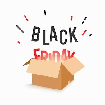 Scatola di vendita venerdì nero isolata su bianco