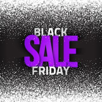 Fondo astratto luminoso di vendita di venerdì nero con particelle che cadono incandescenti bianche