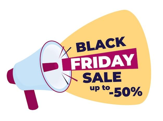 Vendita del black friday. megafono del fumetto. banner di promozione e pubblicità in stile piatto con altoparlante.