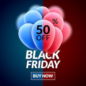 Manifesto di concetto di vendita venerdì nero. pubblicità di sconto di liquidazione del palloncino di vettore.