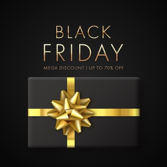 Concetto di vendita venerdì nero con confezione regalo