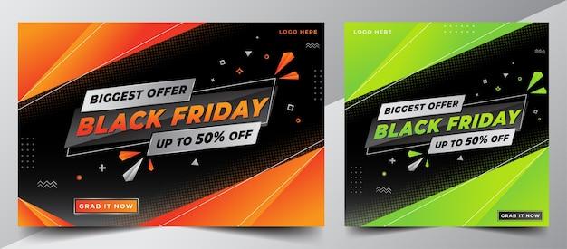 Modello di banner di progettazione di vendita del black friday per social media post