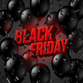 Design di vendita venerdì nero, palloncini neri, coriandoli e testo 3d luminoso rosso.
