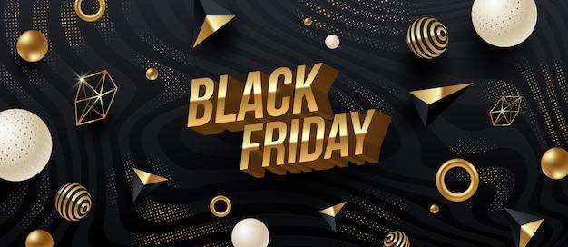 Progettazione di vendita venerdì nero. lettere 3d metalliche dorate su uno sfondo a strisce astratto nero con forme geometriche dorate.