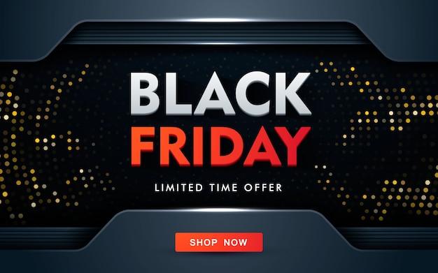 Concetto moderno di design di vendita venerdì nero con glitter oro