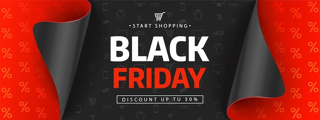 Modello di disegno di vendita venerdì nero. iscrizione di vendita del black friday sulle icone dello shopping.