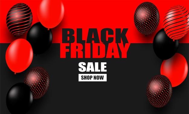 Vendita del black friday. progettare con palloncini su sfondo nero-rosso .vector. illustrazione.