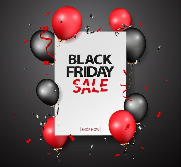 Progettazione di vendita venerdì nero con palloncini e coriandoli