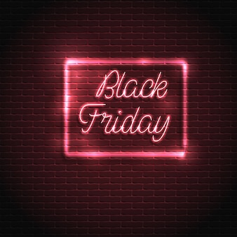 Vendita venerdì nero. lettere al neon incandescente