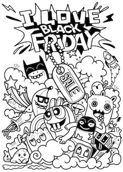 Illustrazione disegnata a mano di concetto di vendita di black friday iscrizione e scarabocchi della mano di vendita di black friday.