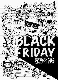 Disegnato a mano di vendita del black friday, illustrazione di concetto, elementi di scarabocchi.