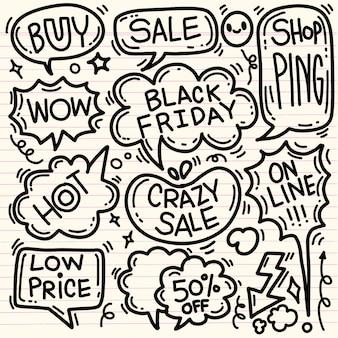 Illustrazione disegnata a mano di concetto di vettore di vendita di black friday. elementi di scritte e scarabocchi della mano di vendita del black friday