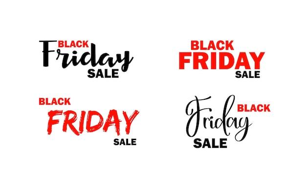 Insieme dell'icona di vendita del black friday. testo di calligrafia. vettore su sfondo bianco isolato. env 10.