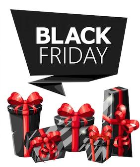 Modello di iscrizione di vendita del black friday. venerdì nero . illustrazione poster di vendita con palloncini lucidi pagina del sito web con cornice quadrata e app per dispositivi mobili.