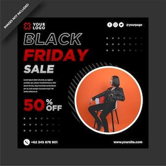 Post di instagram di vendita del black friday e modello di post sui social media