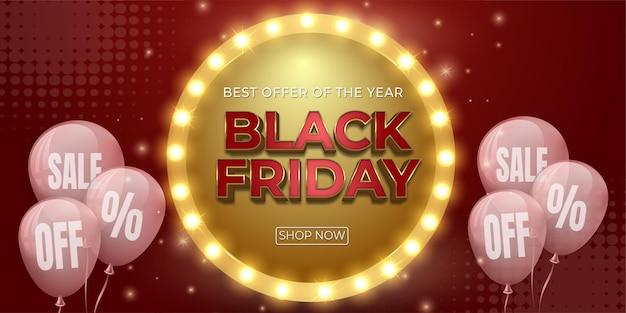 Banner di lusso vendita venerdì nero con modello di palloncini