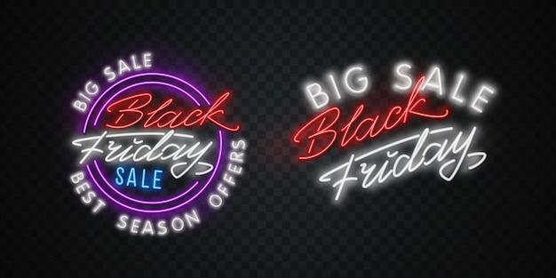 Banner al neon di vendita del black friday. insegna al neon del black friday, modello di design, design moderno di tendenza, insegna al neon notturna, pubblicità luminosa notturna.