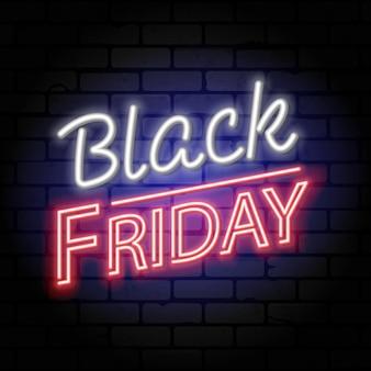 Insegna al neon di vendita del venerdì nero con l'insegna per la vendita del venerdì nero sulla struttura del muro di mattoni