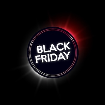 Banner al neon di vendita del black friday.