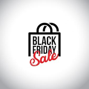 Vendita venerdì nero. nuova tipografia creativa con borse shoping su sfondo bianco.