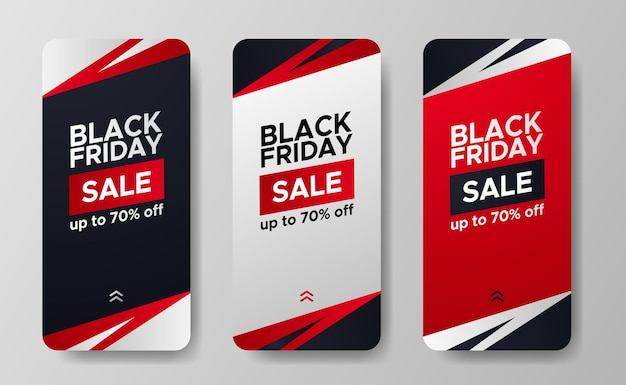 La vendita del black friday offre una promozione di sconti per storie di social media semplice concetto di minimalismo