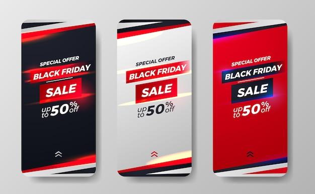 La vendita del black friday offre una promozione di sconti per le storie dei social media il concetto di minimalismo della moda uomo sportivo semplice