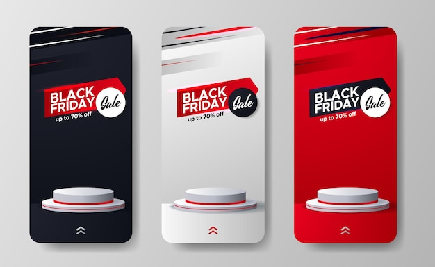 La vendita del black friday offre una promozione di sconti per le storie dei social media con display sul podio del cilindro