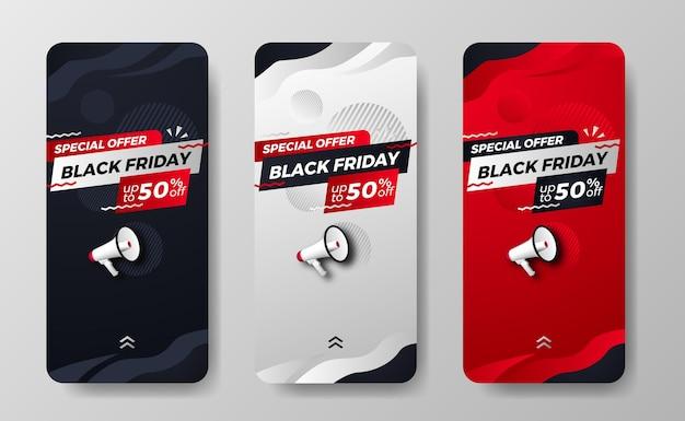 La vendita del black friday offre una promozione di sconti per le storie dei social media con il concetto di moda dell'illustrazione del megafono