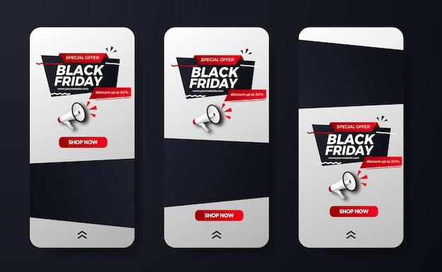 La vendita del black friday offre una promozione di sconto per le storie dei social media con il concetto di uomo sportivo dell'illustrazione del megafono