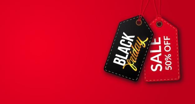 Sconto dell'etichetta del cartellino del prezzo di offerta di vendita venerdì nero con sfondo rosso spazio bianco