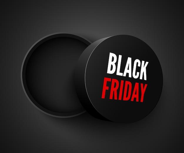 Banner scatola rotonda aperta vendita black friday