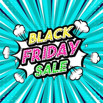 Black friday sale pop art style frase comic style