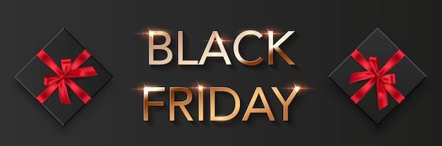 Priorità bassa del manifesto di vendita venerdì nero. offerta premium con pubblicità di sconti. carattere oro, scatole nere con fiocchi rossi, illustrazione di offerte speciali, volantino promozionale moderno ed elegante.