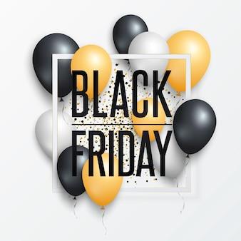 Manifesto di vendita venerdì nero o banner con palloncini lucidi