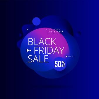 Design del poster di vendita del black friday con forma di flusso geometrico banner sconto blu con forma di miscela 3d