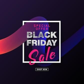 Design di poster di vendita del black friday con testo argento su forma di flusso 3d