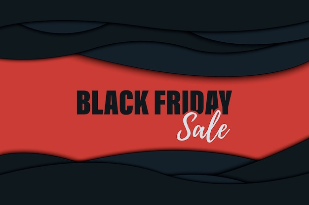 Manifesto di vendita del black friday con forme astratte tagliate di carta.