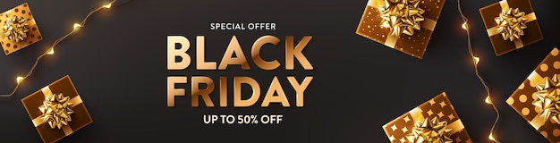 Poster di vendita del black friday con bellissima confezione regalo per vendita al dettaglio, shopping o promozione del black friday