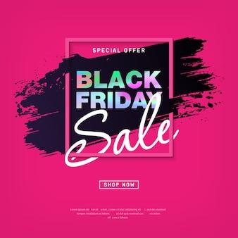 Manifesto di vendita del black friday con testo olografico. layout per promozione e pubblicità. vettore