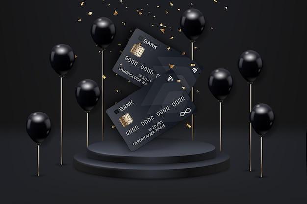 Poster di vendita del black friday con palloncini realistici, carte di debito e coriandoli su sfondo nero