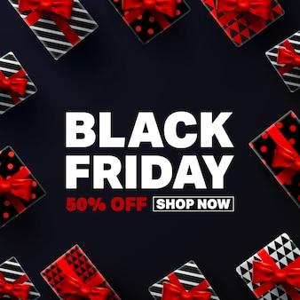 Manifesto di vendita del black friday con scatola regalo rossa e nera