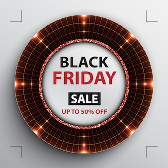 Manifesto di vendita del black friday con radar rosso rotondo