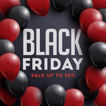 Manifesto di vendita del venerdì nero con palloncini lucidi su sfondo nero con cornice.