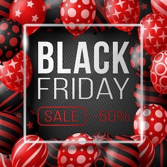Manifesto di vendita del black friday con palloncini lucidi su sfondo nero con cornice quadrata in vetro. illustrazione.