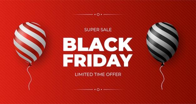 Manifesto di vendita del black friday con palloncini lucidi su sfondo rosso